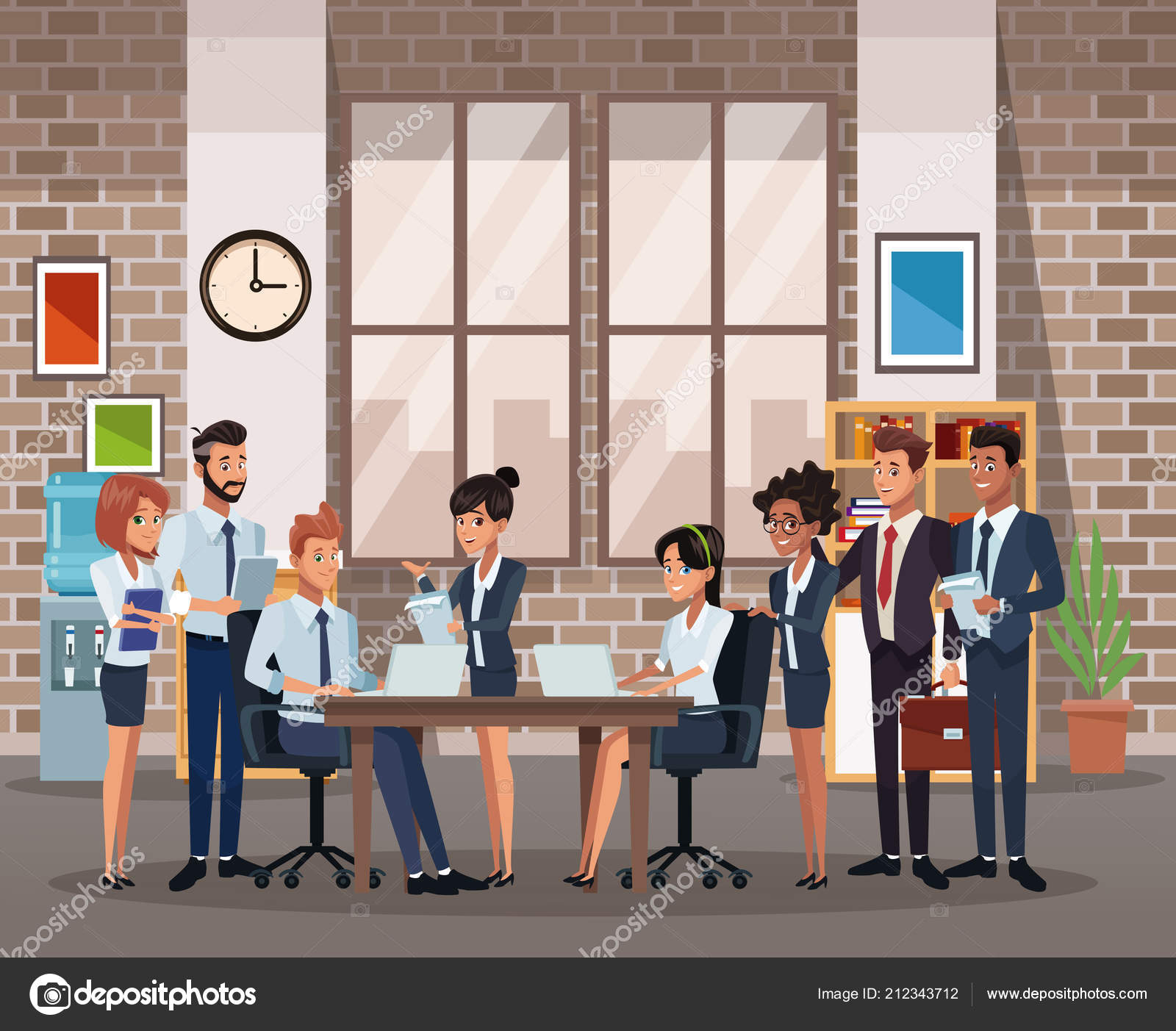 Business coworkers meeting at office cartoons vector illustration graphic design