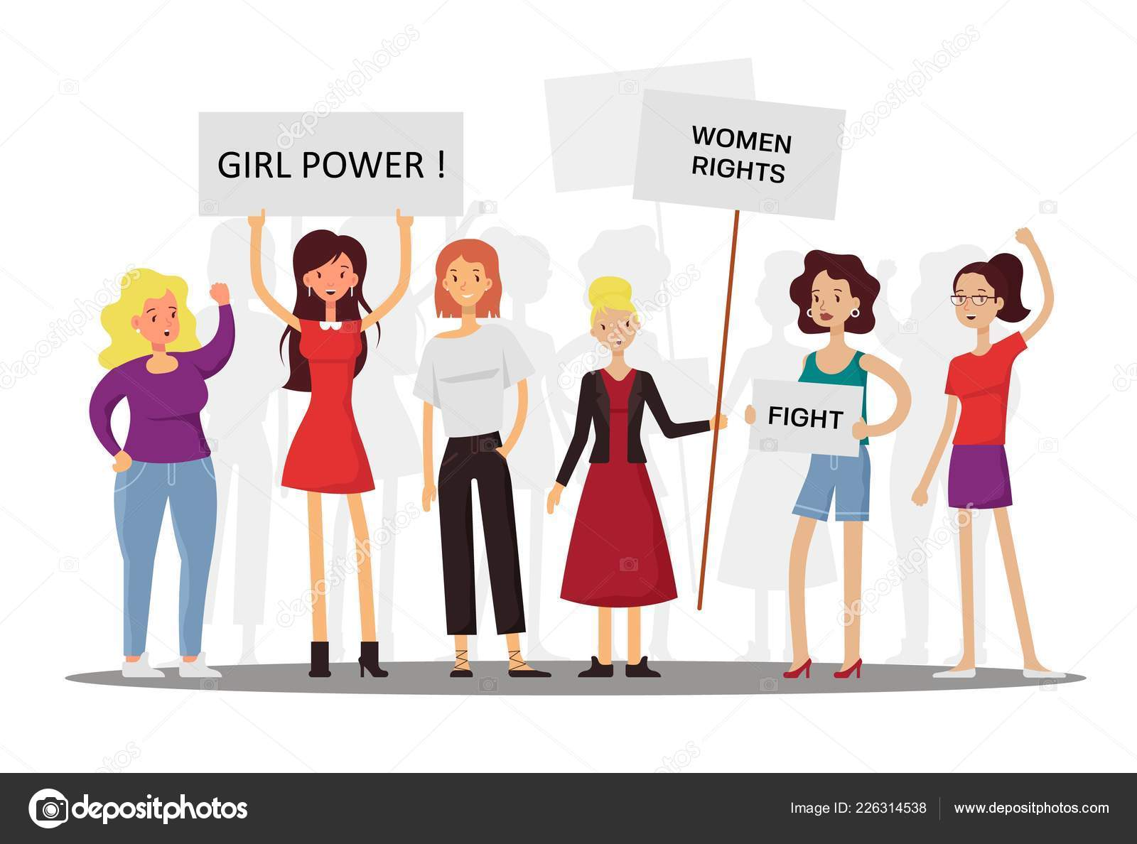 Girl power and feminism concept vector flat illustration. Group of women fighting for women rights while holding signs with motivational phrases and feminist quotes.
